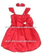 red bubble hem crianças festa vestidos de meninas vestidos de festa vestidos para meninas de 11 anos