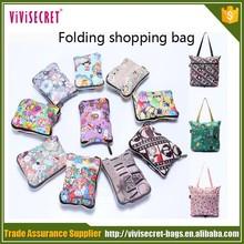 online oem women nylon reusable folding shopping bag with zipper