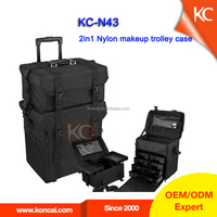 professional salon nylon case,nylon cosmetic case,nylon makeup case with trolley system,nylon rolling system case.2pcs in one.