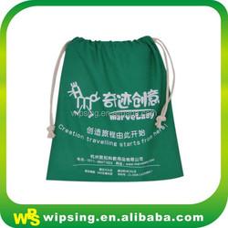 Custom logo printed large canvas drawstring bag