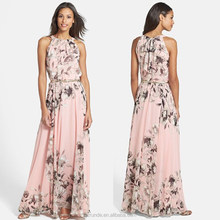 Halter sexy summer woman dress, fashion lady/female clothes wholesale, chiffon sexy long/maxi dress floral