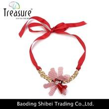 2015 moda de seda vermelho com corrente de cobre colar de pingente de jóias