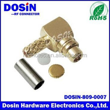 MCX Right Angle Crimp brass gold Plug for RG-55, RG-142, RG-223 cable