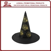 New Black Wholesale Funny Crazy Halloween witch Party Hat with Spider Net