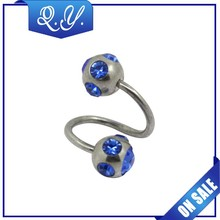 Surgical Steel Spiral double Rings lip rings, blue Rhinestone labret