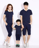 Family clothing Suit Parent And Kids Sport Style Polo shirt & Pants Set