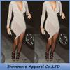 Style No.L263 long sleeve sexy deep V-neck ruffle mini dress for ladies