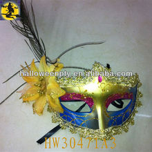Plastic Halloween Masks with Feather and Flower