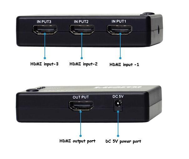 3-port Audio Video Mini Hdmi Switch / Switcher / Splitter with Remote Control