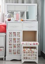 Modern white folding dresser with mirror