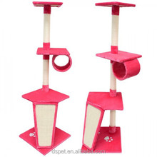 Dspet Wholesale Cat Tree Cat Condo House Play bed Furniture Scratching Sisal Post Pet Modern House Design Play Toy house Pink