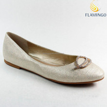FLAMINGO 2015 LATEST ODM /OEM Glitter Flat Shoes Ladies Fancy Shoes Ballerina Shoes With Diamond