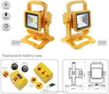 transformer with fireproof PC led flood light, 10w 5.2Ah high power battery led flood light with detached battery