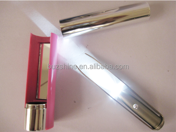 Stainless Steel LED Electric Eyebrow Tweezer with Mirror for Promotion Gift