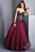 2014 simple strapless sweetheart bare breast a line long burgundy beaded 6327 women party dresses