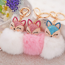 Hot sale fox tail keychain fox fur ball keychain plush toy keychain