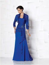 2 pieces royal blue beaded long sleeve satin full length mother dresses in lahore
