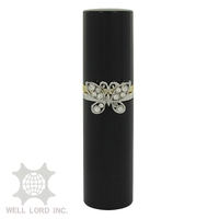 Empty slim travel glass bottle with crystal ring decoration