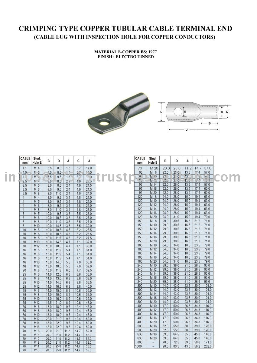 Copper tube terminal crimping type cable lugs with