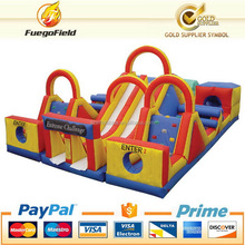 Economic new coming yellow blue inflatable obstacle course