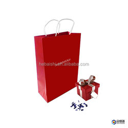 recycled red folded paper bag for gift packaging