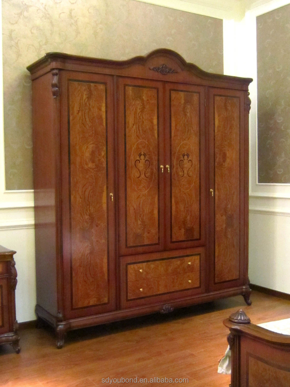 E51 4-door wardrobe.jpg - 0051 American Style Wooden Wardrobe Designs,Antique Wardrobe Cabinet