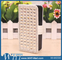 Luxury Bling Bling Diamond Wallet Flip Leather Case for iPhone 5S 4S