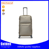 four wheels khaki color trolly luggage with satin lining push button iron trolley system