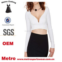 Chinese Wholesale Woemn Plus Size Plain White Long Sleeves Sexy Crop Tops