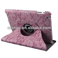Turquoise Purple Apple iPad Air Luxury Floral Petal Smart PU Leather Case Rotating 360 Cover Travel Stand