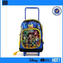 Durable classic brand pattern kids trolley school bag