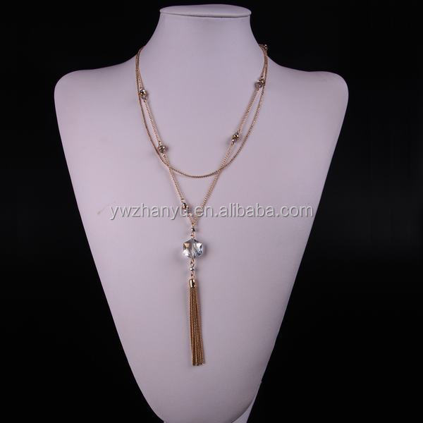 2015 fashion crystal iron tassel long chain necklace