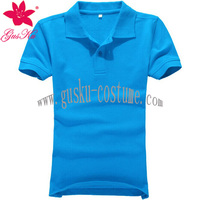 Factory OEM Leisure classic Sky blue color shining woman t-shirt with POLO collar