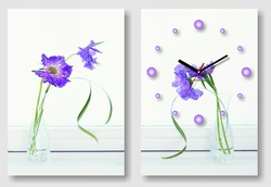 Fashion quartz carnation flower wood home decoration flip clock