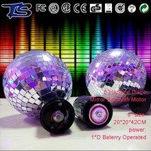 China christmas ornament 8 inch hanging disco mirror ball with battery motor