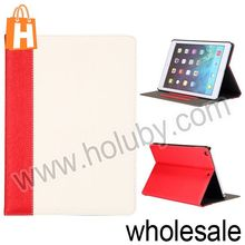 Dual Color Elegant Side Flip Style Wood Grain Pattern Stand Elastic Belt Leather Hard PC Case for iPad Air