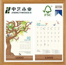 custom desk silk screen logo promotional gift wooden calendar base