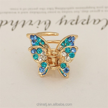 Girls Accessories Gold Plated Alloy Crystal Butterfly Mini Hair Claw Clip