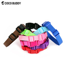 100% pure nylon plain pet dog collar with matching colorful buckles pet accessories OEM