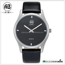Accept own brand stainless steel genuine leather strap men good wirst watch
