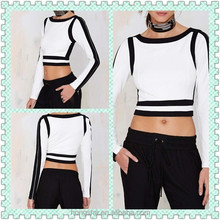 OEM China Supplier 2015 Summer Women Fashion and Leisure Crop Block Out Top HST8446