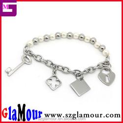 GLAMOUR 2015 Newest Custom Design Fashion Stainless steel Chain Bead Bracelets Charm infinity bracelet Wholesale