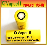 New product VapCell 18490 15a 18490 1400mAh 3.7V 15a battery, 18490 15a,18490 li-lon batteries for power tools/e-cigs hot sales