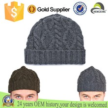 Wholesale High quality cable Knitted cashmere beanie hats