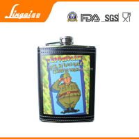 personalized maxam black leather covered 8oz hip flask
