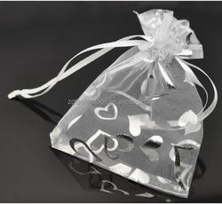 Wholesale 100Pcs 9x12cm White Heart Organza Wedding Gift Bags Pouches Bags&Poucheses