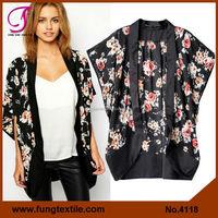 4118 NEW Woman Summer Black Floral Chiffon Batwing Kimono Cardigan
