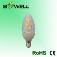 170-260V 5W E14 CE/EMC/GS/ERP/SASO Glass cover COB C37 LED Filament bulbs