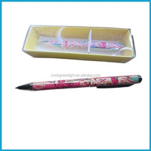 Flower heat transfer printing metal ball pen,ball pen gift set