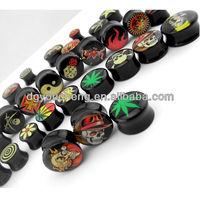 Fancy Acrylic Solid Custom Ear Gauges Plug